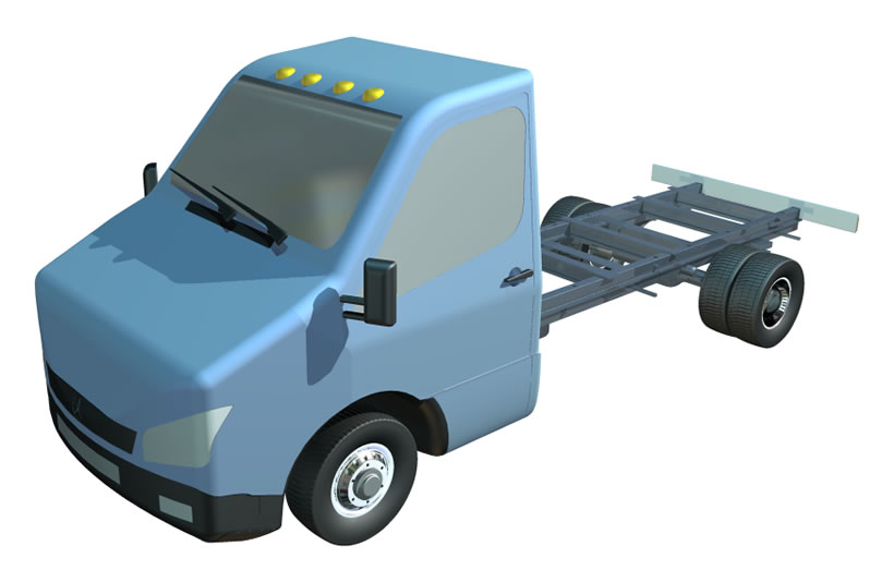 Mercedes Benz Sprinter chassis electronic model for design of attachments