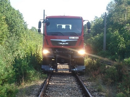 Road-rail heavy vehicle 4x4